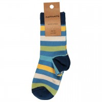 Blaue Socken mit Ringel bunt Doppelpack