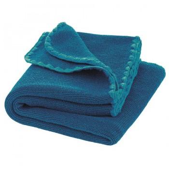 Babydecke Wolle Melange blau 80 x 100 cm