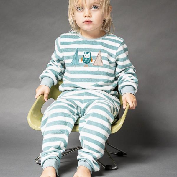 Kuschliger Frottee Schlafanzug Eulen blau