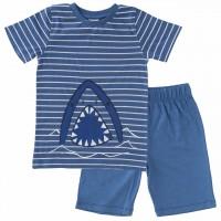 Schlafanzug leicht mit Shorts und Shirt Hai