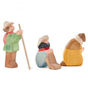 Hirten Gruppe 3 Teile für Miniatur Weihnachtskrippe