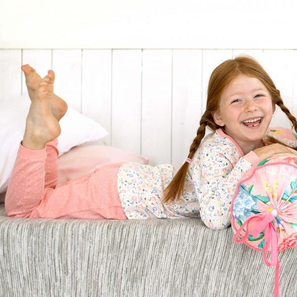 Mädchen Schlafanzug Blumen weiß