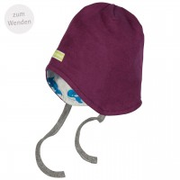 Mütze zum Wenden und Binden Fleece in lila