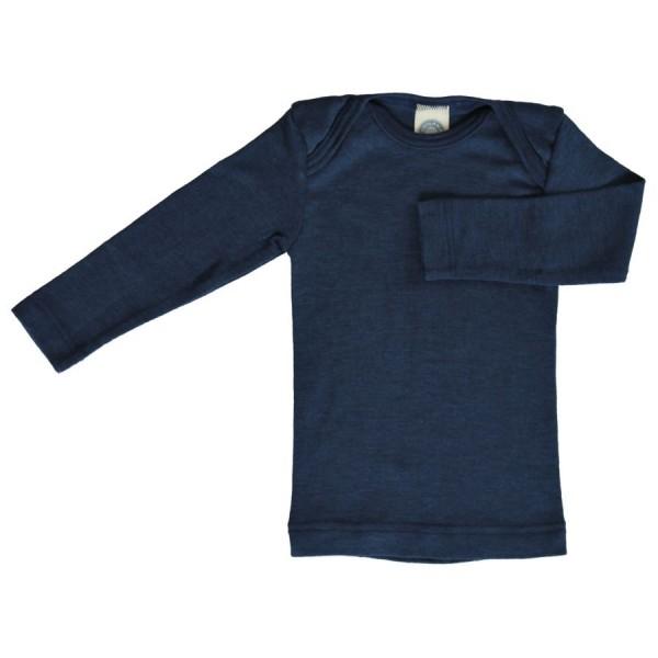 Atmungsaktives Wolle Seide Shirt marine