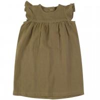 Oliv-grünes Musselin Retro Kleid