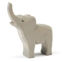 Kleiner Elefant trompetend Holzfigur 13cm hoch