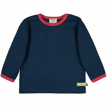 Strukturiertes Shirt langarm in dunkelblau