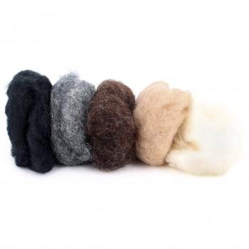 Märchenwolle zum Trockenfilzen, Naturtöne gemischt 50 g