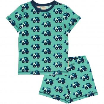 Sommer Schlafanzug Schaufellader blau