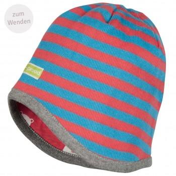 Mütze zum Wenden Ringel in türkis/melone