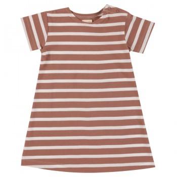 Kleid Streifen Wallnuss-braun
