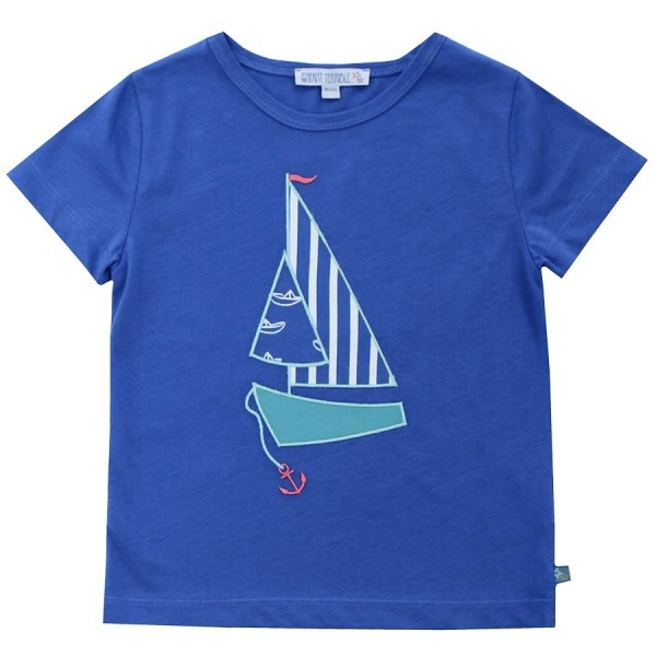 45fed642fce1 Bio T-Shirt royal Segelboot Aufnäher   greenstories