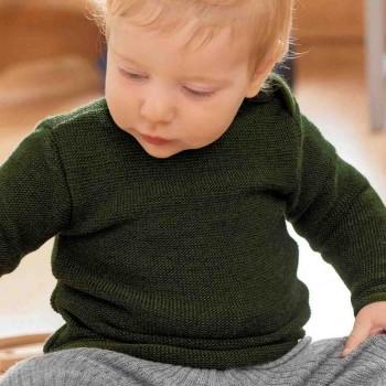 Pullover Baby Schurwolle in oliv-grün