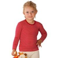 Atmungsaktives Wolle Seide Shirt rot geringelt
