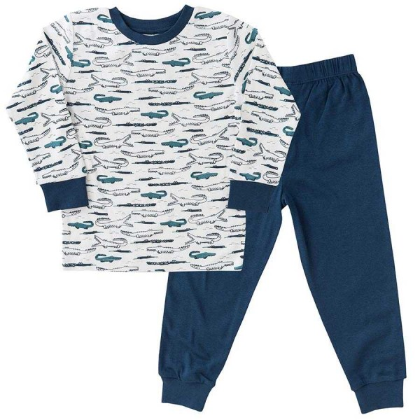 Schlafanzug leicht in langarm blau Krokodile