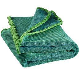 Babydecke Wolle Melange Bio grün 80 x 100 cm