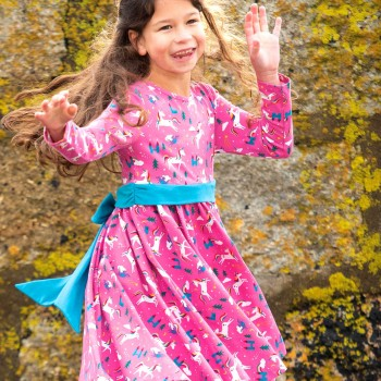 Einhorn Kleid in pink mit Schleife