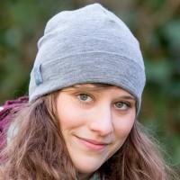 Wolle Seide Mütze Übergangszeit grau