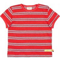 Leichtes Leinen Shirt kurzarm Streifen rot