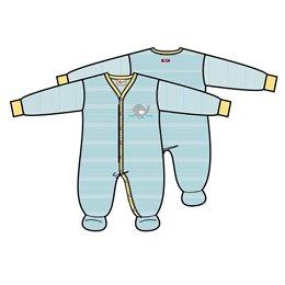 Bio Baby Strampler people wear organic - hellblau geringelt