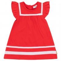 Rotes Babykleid mit Rüschen und Bändern