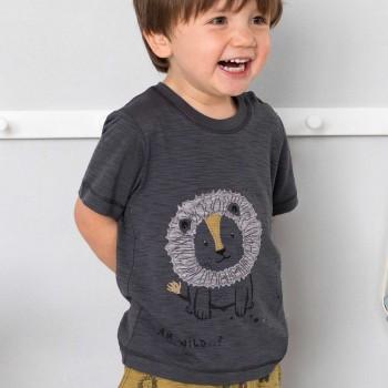 Slub T-Shirt Löwe in schiefergrau
