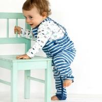 Baby Latzhose warm gestreift blau
