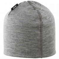 Warme Feinripp Mütze Wolle Seide in grau