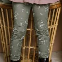 Edle Leggings elastisch Blumen in oliv-grün