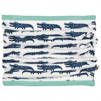 Schlauchschal leicht Krokodile dunkelblau