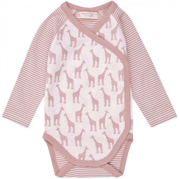 Wickelbody Giraffen-Druck langarm rosa