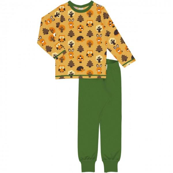 Wald Tiere Schlafanzug langarm in gelb