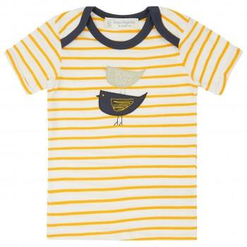 Babyshirt kurzarm gelb Streifen Aufnäher