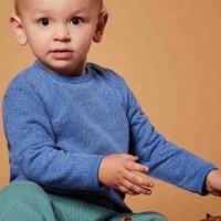 Strick Shirt langarm in blau melange