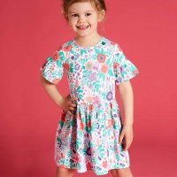 Edles Mädchenkleid Aloha-Muster Rüschen