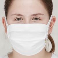 Behelfsmaske waschbar zum Binden – doppellagig weiß