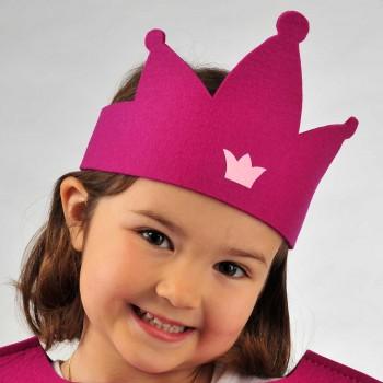 Krone aus Wollfilz rosa