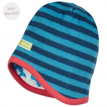 Mütze zum Wenden Ringel in ultramarine/aqua