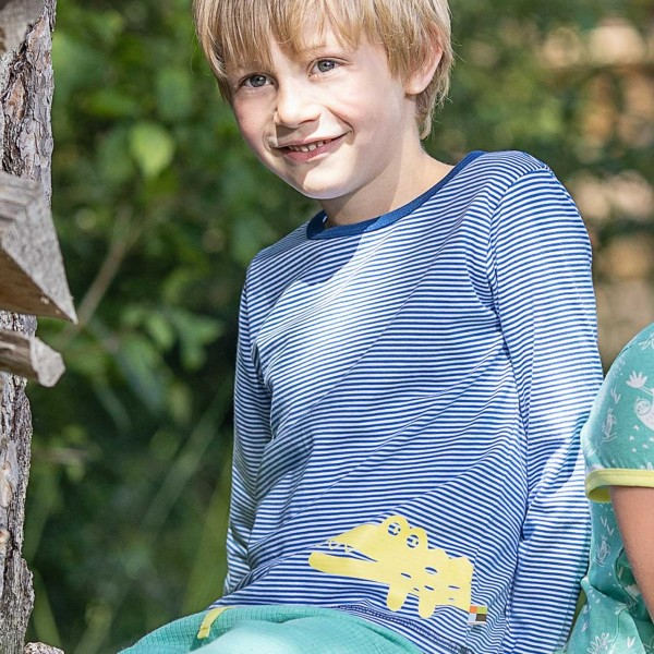 Leichtes Ringel Shirt langarm blau Tiermotiv