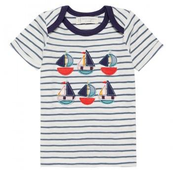 Babyshirt kurzarm Segelboote navy