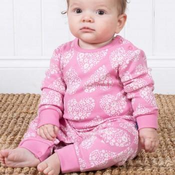 Babystrampler Herz-Motive rosa