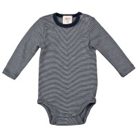 Wolle Seide Baby Body blau gestreift