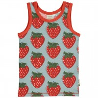 Unterhemd Erdbeeren in hellblau rot