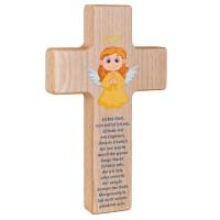 Holzkreuz mit Schutzengel zur Taufe