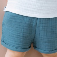 Shorts Musselin blau