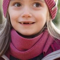 Kinder Schal Wolle Seide in fuchsia