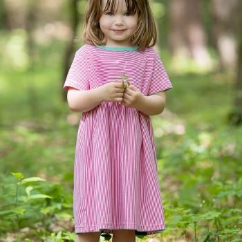Flatter Kleid feine Streifen pink