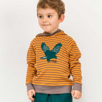 Kapuzen Pullover in orange Falken-Aufnäher