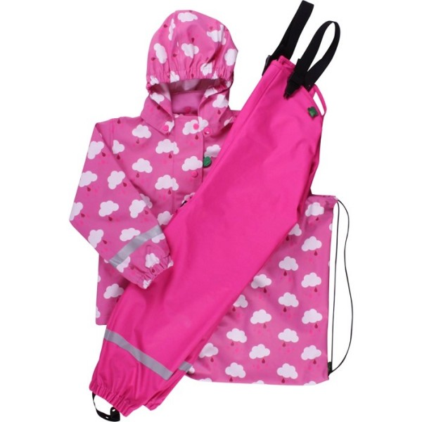 Kinder Regenkleidung SET ungefüttert + Tasche - rosa