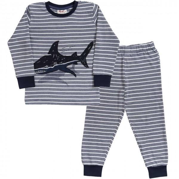 Leichter Jungen Schlafanzug Hai blau